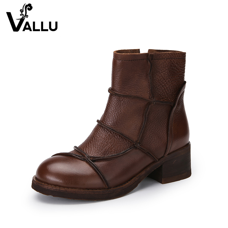 2018 New Arrival Leather Ankle Boots Women Autumn Genuine Leather Chunky Heel Lady Booties Soft Handmade Women' s Shoes