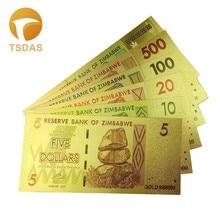 Full Set(6pcs) Zimbabwe Dollar Bills 24k 999.9 Gold Plated Fake Money For Home Decor Banknote Drop Shipping