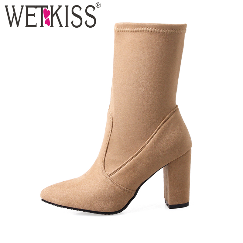 WETKISS Big Size 32 43 Fashion font b 2017 b font Ladies Ankle Boots Women Flock