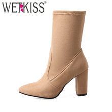 WETKISS Big Size 32-43 Fashion 2017 Ladies Ankle Boots Women Flock Thick High Heels Shoes Woman Pointed toe Female Boot Footwear