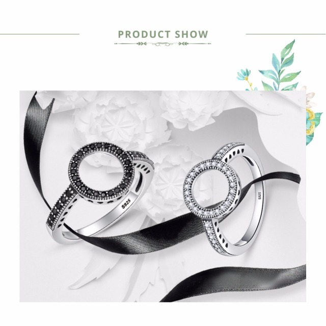 BAMOER 100% Genuine 925 Sterling Silver Forever Clear Black CZ Circle Round Finger Rings for Women Jewelry Christmas Gift SCR041 1