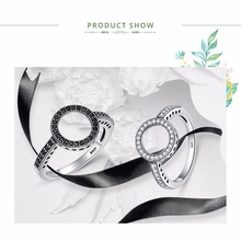 100% Genuine 925 Sterling Silver Forever Clear Black CZ Circle Round Finger Rings (2 colors)