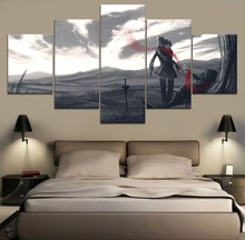 black-and-white painting RWBY Anime HD Print Decor Painting Canvas Wall Art 5 Piece Home Living Room