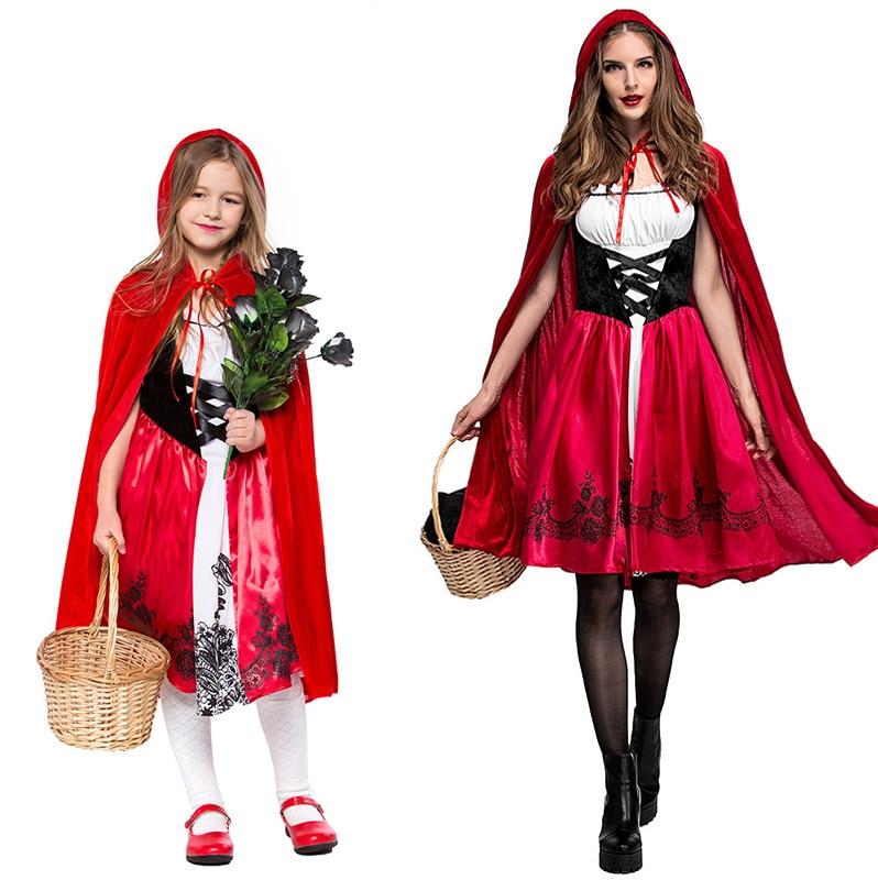 Halloween Womens Girls Little Red Riding Hood Costume Ladies