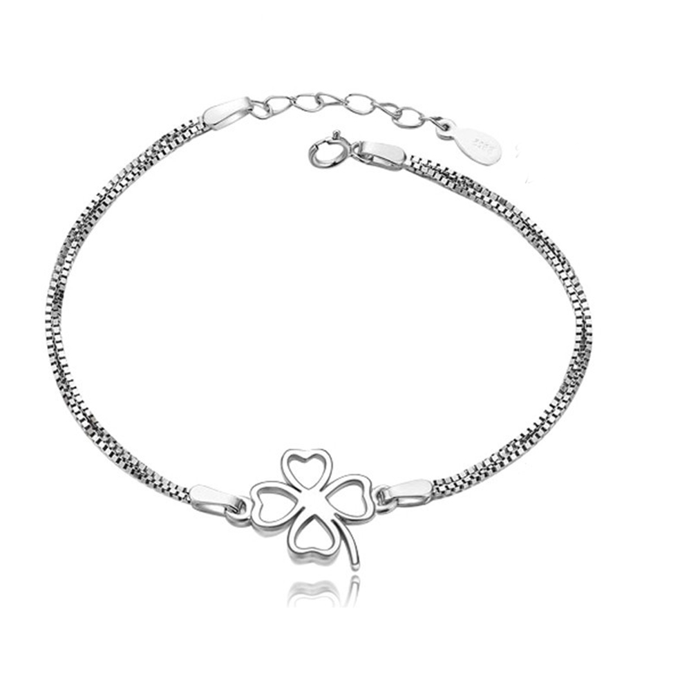 Authenetic 925 Sterling Silver Bangles Bracelets Chain Two Lines Lucky Clover Bracelet For Women Wedding Party Jewelry For Gift