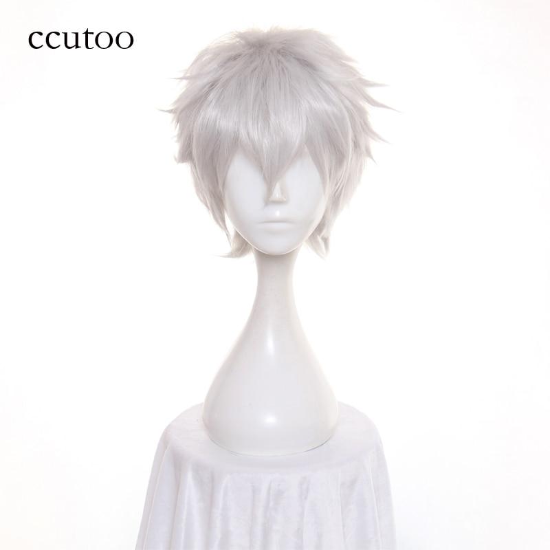 Ccutoo The Future Diary Akise Aru / Sakata Gintoki Short Silver Gray Synthetic Fluffy Layered Cosplay Hair Wig