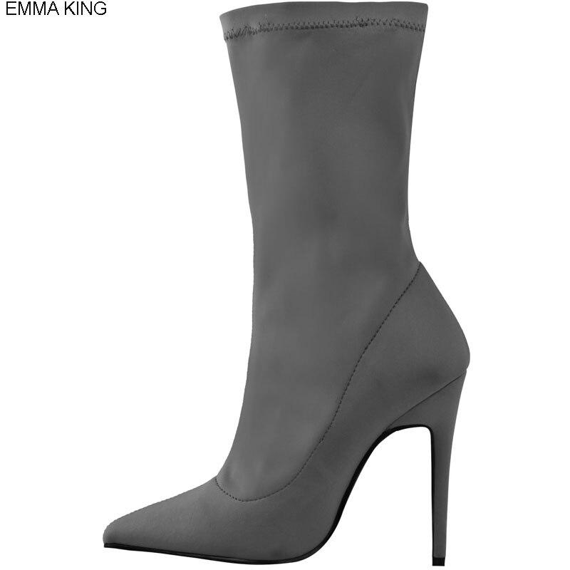 Bottes Chaussures Bout Printemps Automne Mujer Extensible Mince Femmes Picture Hauts as Nouveau Talons Tissu Botas Élégant Picture As Pointu Femme jqzLSMGUpV