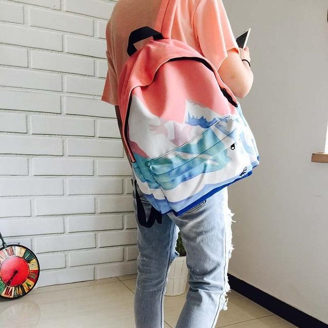 2016 Landscape Printing Backpacks For Teenage Girls Student Shoulder Bag Fashion Women Travel Satchel Canvas School Backpack