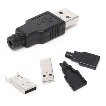 10 Sets DIY USB 2.0 Type A Male USB 4 Pin Plug Socket Connector w/Plastic Cover Connectors