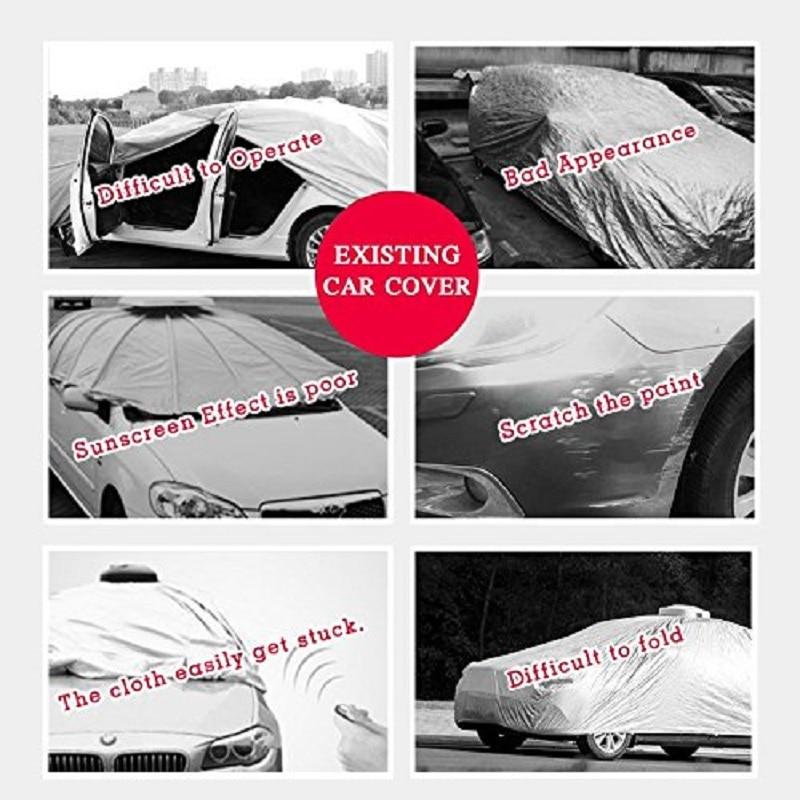 KEMiMOTO Portable entièrement automatique bâche de voiture tente télécommandée voiture soleil ombre parapluie couverture de toit extérieure Kits de Protection UV - 6