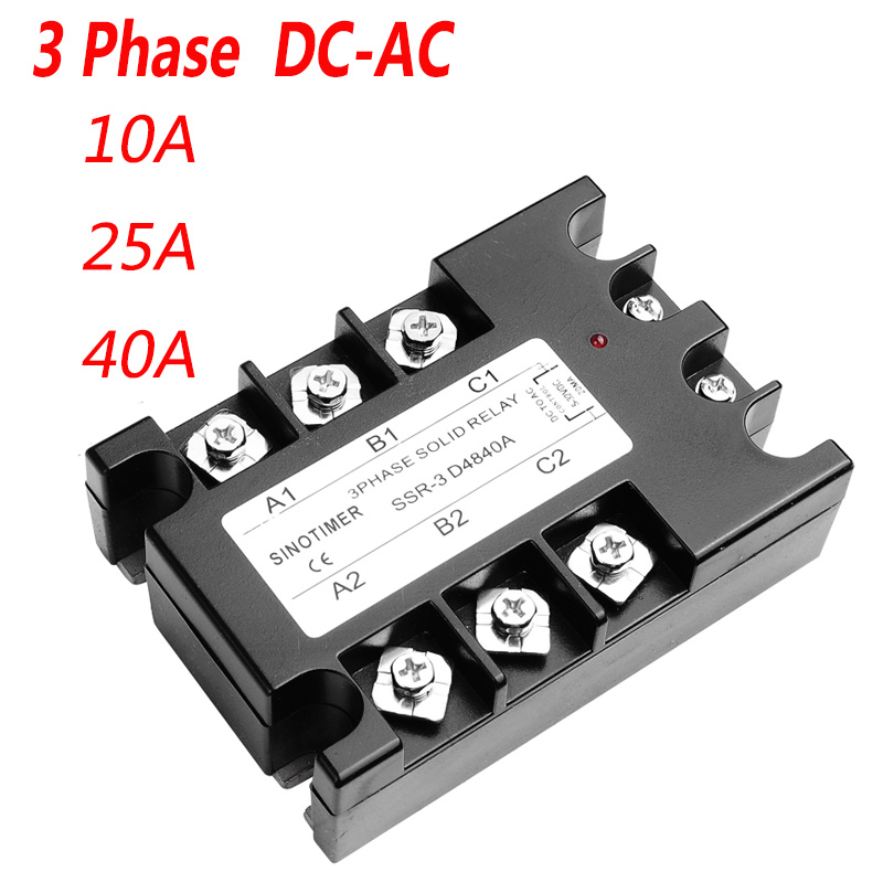 40DA AC Output 3 Phase Solid State Relay 3-32V DC to 30-480V AC 10A 25A Module Switch Relay relais DC-AC digital meter charge and discharge tester dc 8 28v control switch dc 0 30v 10a ac 0 250v 10a relay controller