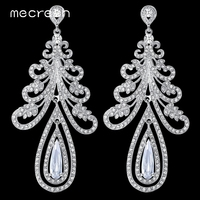 Real Luxurious Christmas Tree Shape Cubic Zirconia Crystal White Gold Plated Wedding Jewelry Long Earrings For
