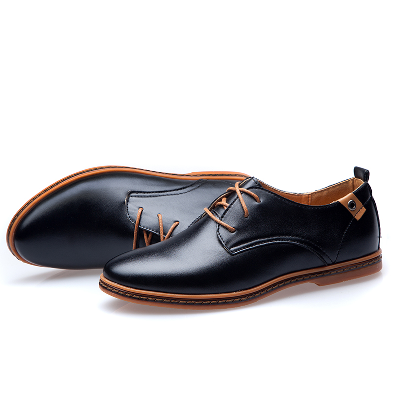 57d198237d Big Size EU 2019 Men Casual Leather Shoes Hot Sale Spring Autumn Men  Fashion Lace Up Dress Shoes Man Low Top Light Flats Sapatos-in Men's Casual  Shoes from ...