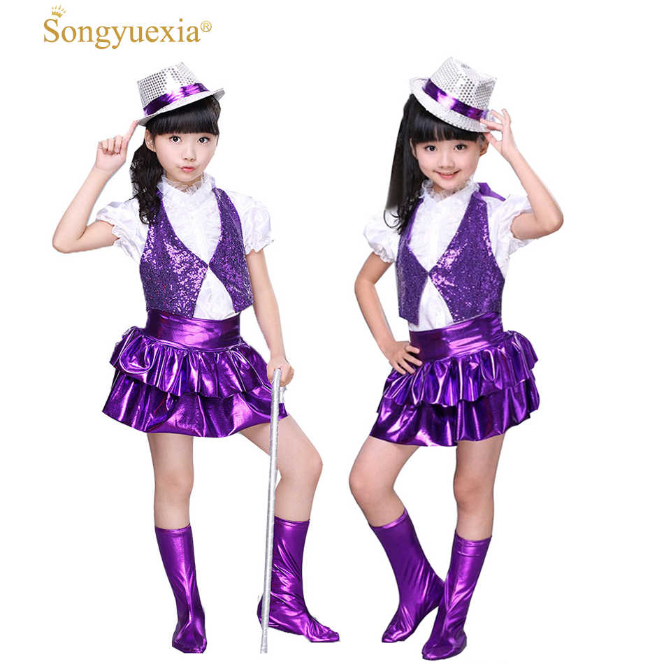 New children Guitar Jazz Dress Dance Performance Sequins Costumes for Singers stage dance skirt Modern dancewear for kid