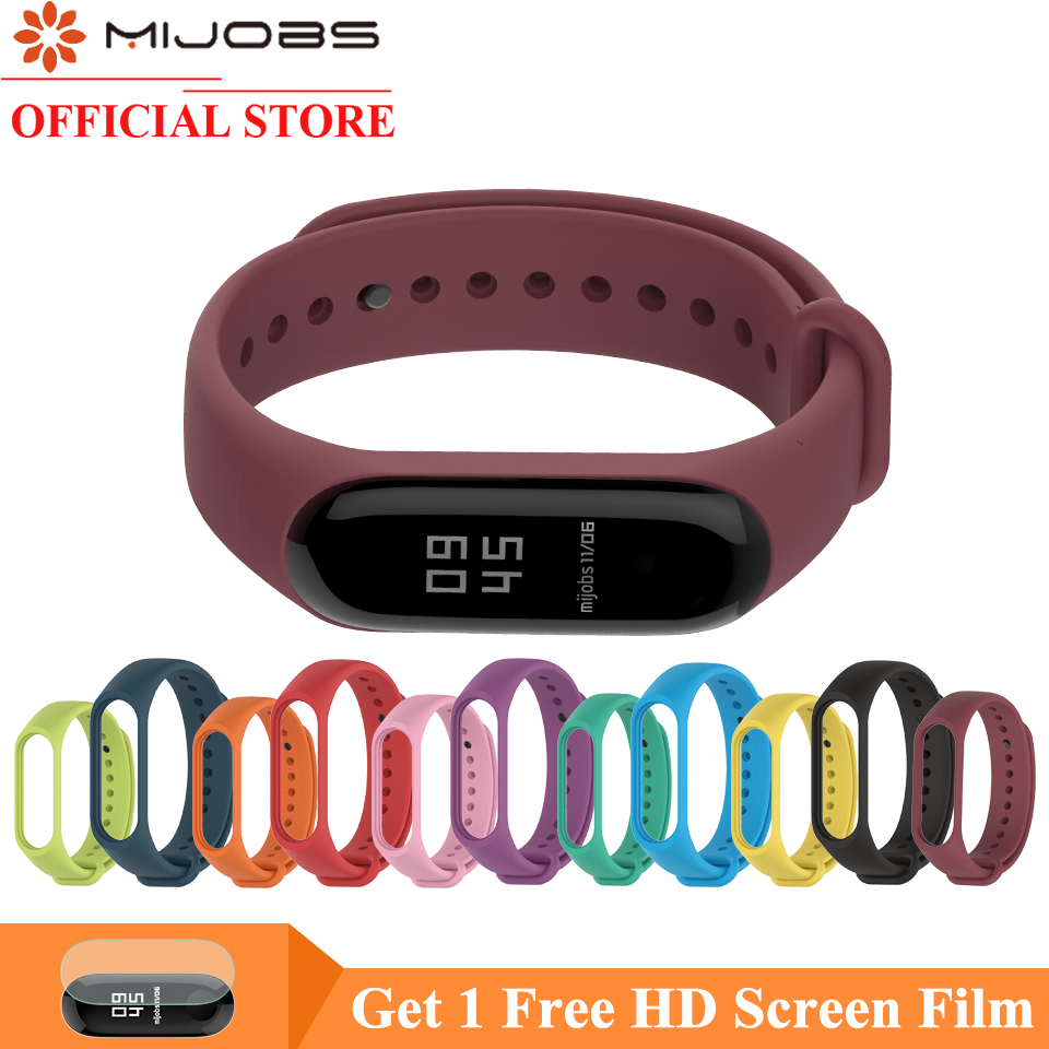 Mijobs 3 Sport Watch Silicone Wrist Strap For Xiaomi Mi Band 3 Accessories Miband 3