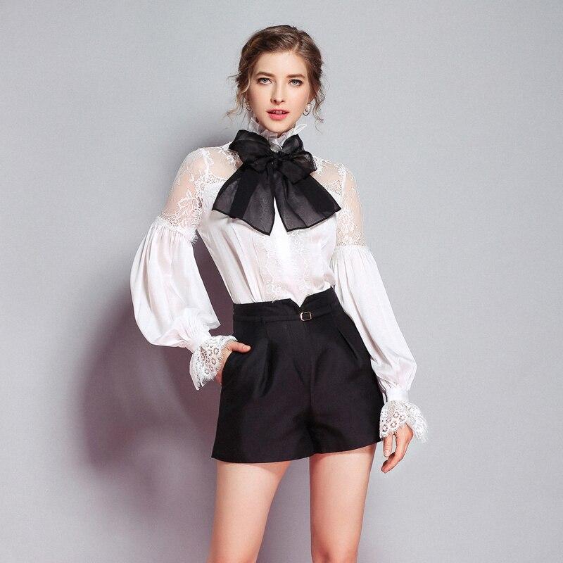96ad05bd1b Negro De Blusas Ol Camisa Oficina Arco Blusa Mujeres Calidad S Nuevo  Elegante Cuerpo blanco Linterna xxl Mangas Alta aAIOdq4wn4