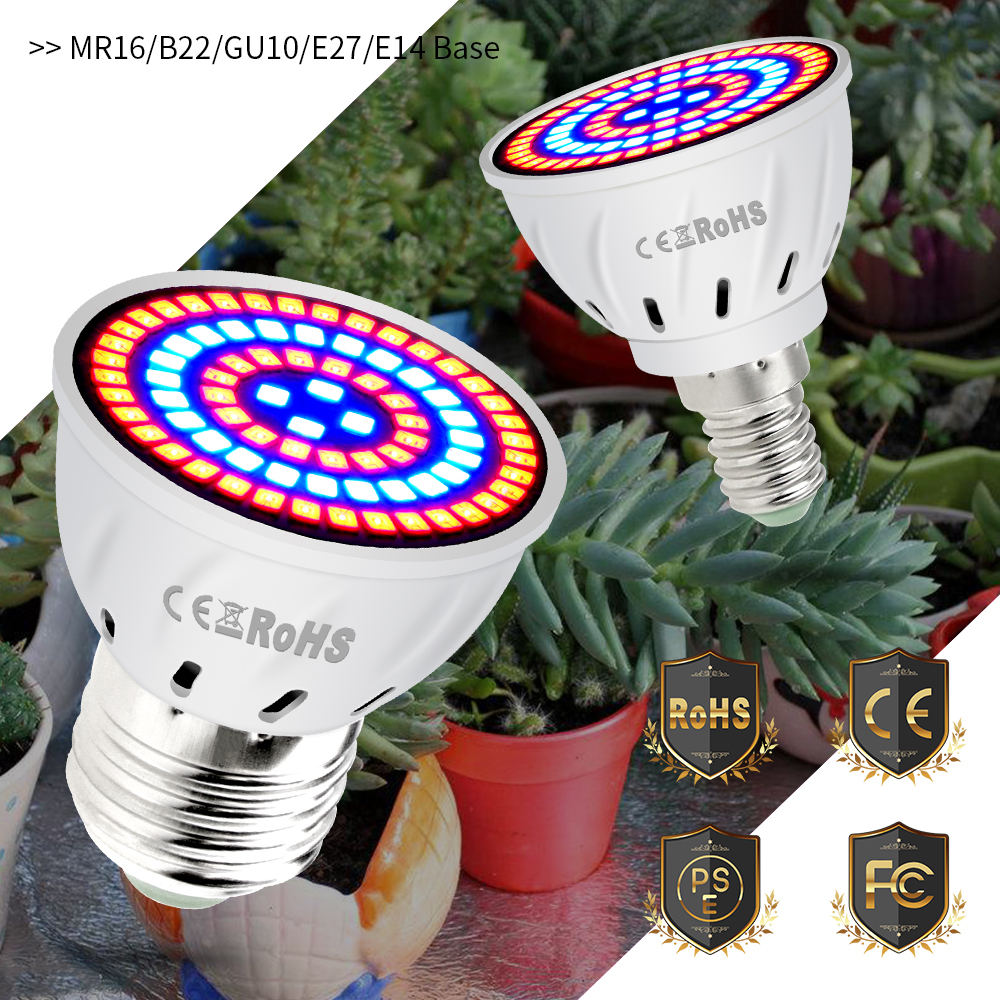 E14 Plant Grow Light E27 LED Seedling Bulbs Full Spectrum B22 Phyto Lamps 4W 6W 8W GU10 Led Indoor Growing Light GU5 3 Grow Box in LED Grow Lights from Lights Lighting