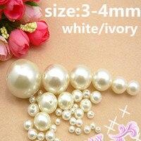 Toptan beyaz ve fildişi 3-4mm ABS reçine boncuk İnci İmitasyon Yuvarlak Boncuk delik + ücretsiz kargo