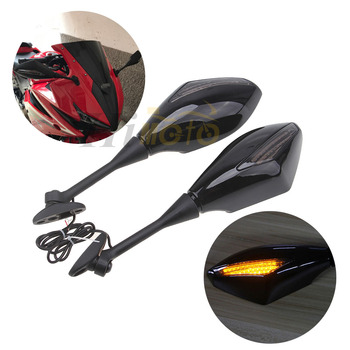 Motorcycle Integrated LED Turn Signals Rear View Mirrors Side Mirror For Honda CBR600RR 03-14 CBR1000RR 04-07 CBR 600RR 1000RR image