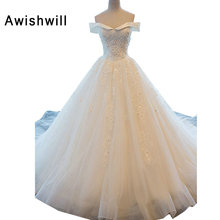 Real Photo Off The Shoulder Applique Beadings Tulle A-line Bridal Gown Chapel Train Wedding Dress Customize Made Plus Size