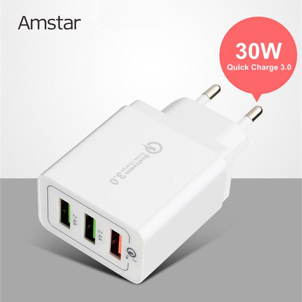 Быстрое зарядное устройство Amstar 3USB 3,0 30 Вт для iphone 11 Pro XS X 8 Samsung S10 Plus S9 S8 QC3.0 быстрое настенное зарядное устройство EU US Plug