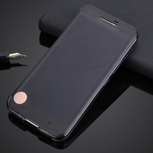 For HTC 10 One M10 Ultra Thin Ice TPU Smart View Auto Sleep Wake Flip Case Soft Cover Silicone Shell Transparent Slim Phone Bag