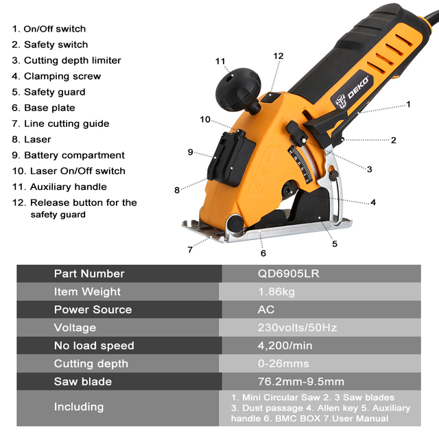 DEKO Mini Circular Saw Power Tools with Laser, 4 Blades, Dust passage, Allen key, Auxiliary handle, BMC BOX Electric Saw 2