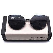 New 2019 Cat Eye Vintage Brand Designer Black Mirror Sunglasses Women Metal Frame Reflective Lens Sun Glasses zonnebril dames