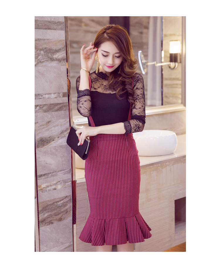 5c7a7eddd Women Summer Fashion Sexy Bunny High Waist Lotus Leaf Fine Striped Strap  Half Body Fishtail Pleated Lace Up Skirt S3597-in Skirts from Women's  Clothing ...