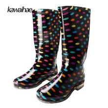 Сапоги на резиновой подошве женские резиновые сапоги Водонепроницаемые удобные женские ботинки с круглым носком брендовые Kawaihae колено высокие сапоги 2017 329