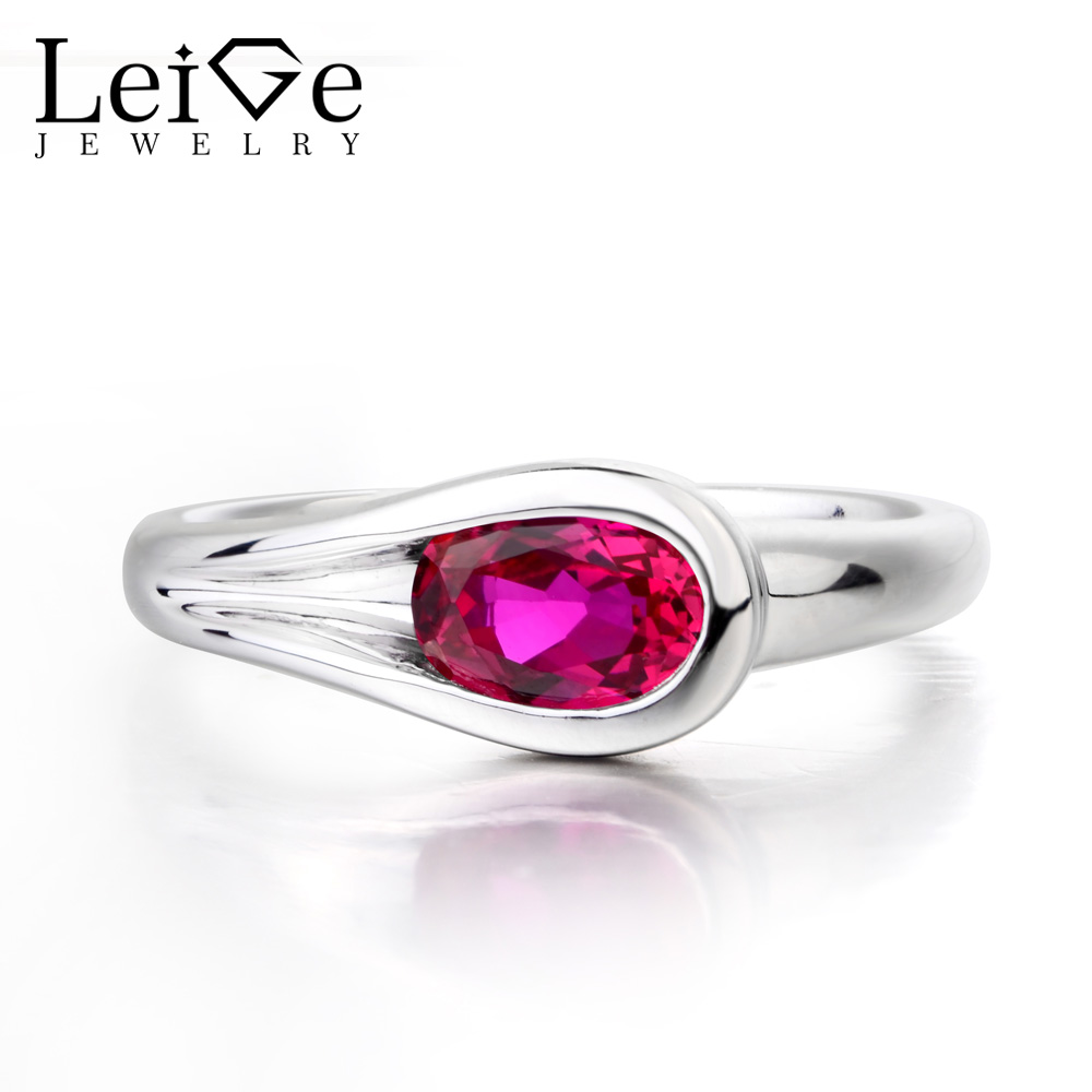 Leige Jewelry Red Ruby Ring Ruby Engagement Ring Oval Cut Gemstone Solid 925 Sterling Silver Fine Jewelry Xmas Gifts for WomenLeige Jewelry Red Ruby Ring Ruby Engagement Ring Oval Cut Gemstone Solid 925 Sterling Silver Fine Jewelry Xmas Gifts for Women
