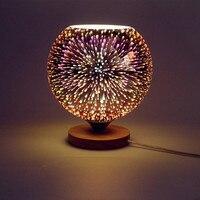 Modern table lamp tiffany europe wood colorful novelty 3D glass lamp LED lighting night light desk bedroom Office AC110 265V