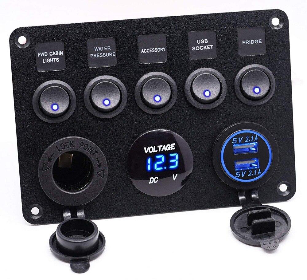 Double prise USB chargeur 2.1A & 2.1A + voltmètre LED + prise de courant 12 V + interrupteur à bascule marche-arrêt 5 bandes panneau multi-fonctions pour voiture