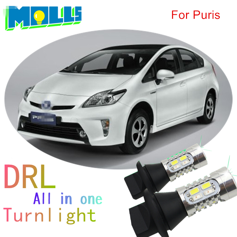 Shinman 7440 T20 5730 chip led DRL Daytime Running Light& Front Turn Signals all in one auto led light WY21W for toyota prius night lord for nissanteana wy21w 7440 t20 winker blinker led drl