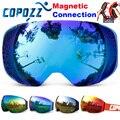 COPOZZ brand ski goggles replaceable magnetic lenses UV400 anti-fog ski mask skiing men women snow snowboard goggles