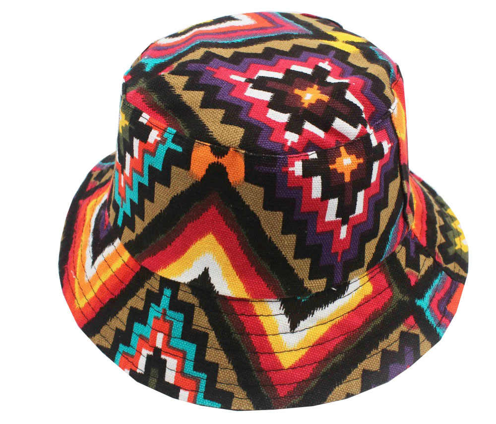 Free Shipping 2018 New Fashion Cute Summer Women Mens Aztec Geometric Printed  Bucket Hats Beach Outdoor ad1fcf408df7