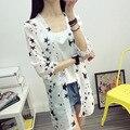 Summer style long seven thin chiffon shirt sleeve jacket shawl stars transparent sunscreen clothing female air conditioning