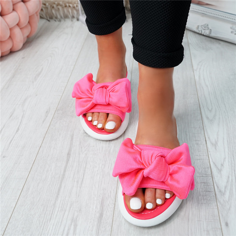 Oeak Fashion Summer Women Ladies Bow Flats Sandals 2019 Slip On Sliders Peep Toe Casual Shoes Female Sandals Shoes Size 35-43Oeak Fashion Summer Women Ladies Bow Flats Sandals 2019 Slip On Sliders Peep Toe Casual Shoes Female Sandals Shoes Size 35-43