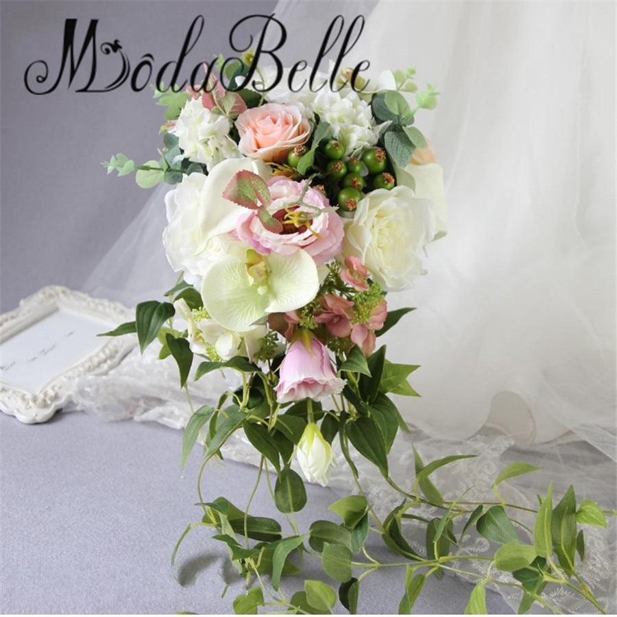 modabelle artificielle cascade bouquet de mariage rose hortensia