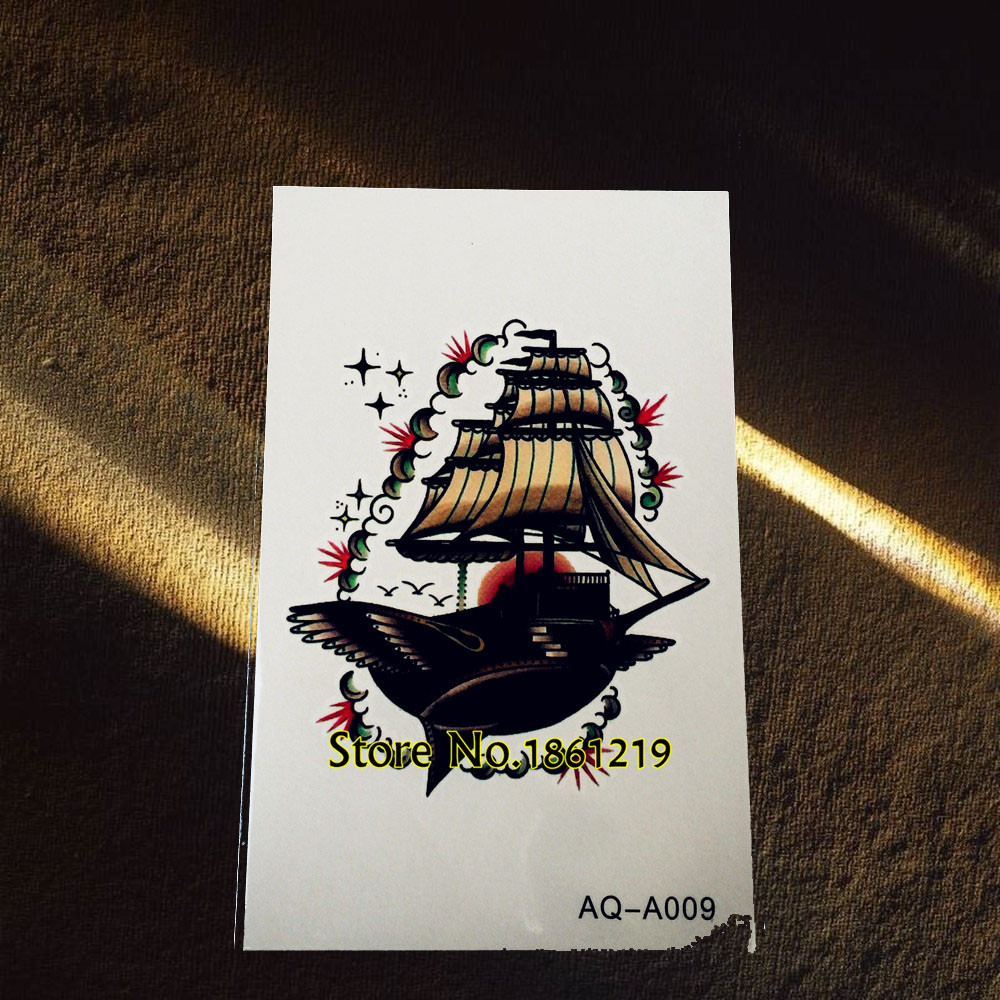 1PC Pirate Ship Tattoo For Men Women Arm Chest Decal Flying Sailing Boat Design Waterproof Temporary Tattoo Sleeve Sticker GAQA9
