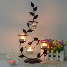 tree branch Candlestick olive leaves candelabra decor candle holders Home Decor Iron Hanging Lantern Candle Wedding