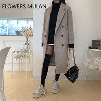 Fashion New Winter Designers Woman Coats Winter 2018 Oatmeal Brown Long Wool Coat Women Plus Size Double Breasted Lady Clothes