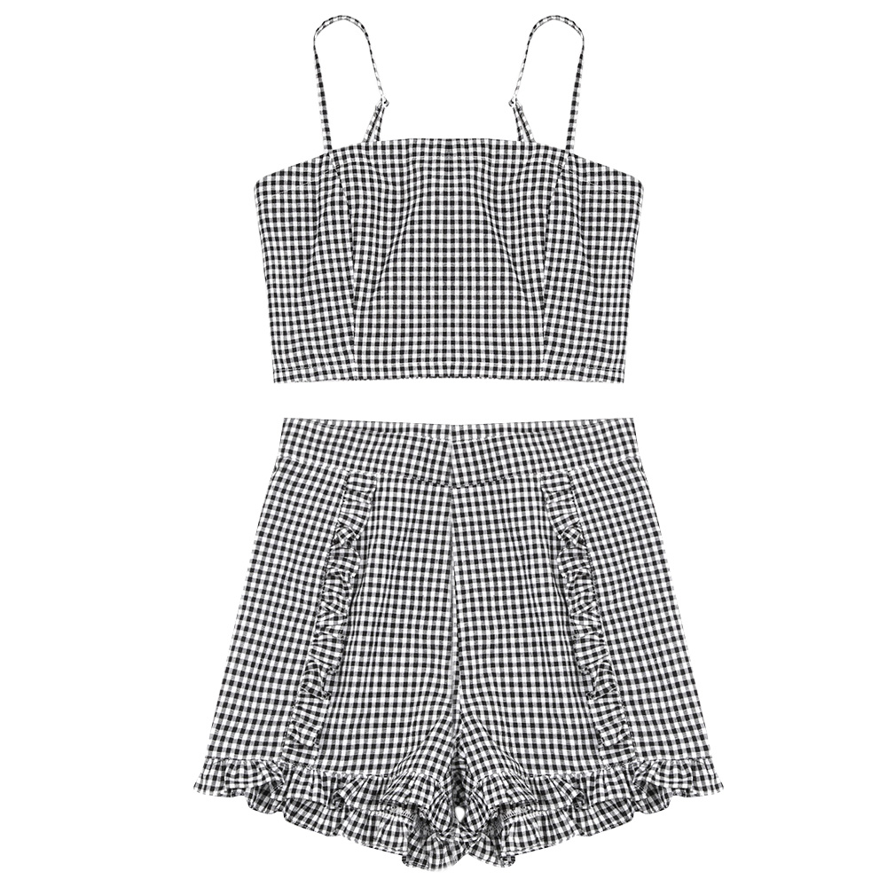 8c49e837671a8 AZULINA Gingham Smocked Crop Top Frilled Shorts Women Sets 2018 Summer Plaid  Ruffles Spaghetti Straps Crop Top High Waist Shorts-in Women s Sets from ...