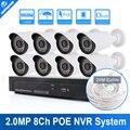 Sistema Del Registrador De 1080 P PoE NVR 8CH Kit Sistema de Vídeo de la Cámara de Bala 8 Canales POE NVR Sistema CCTV Sistema de Cámaras de Seguridad IP 2MP kit