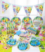 84pcs\lot Spongebob theme Package Kids Birthday Decoration Set Theme Party Supplies Baby Pack