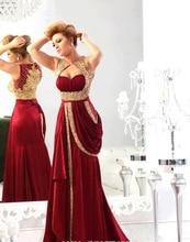 Neue Ankunftsdamen Formalen Kleid Dubai Arabisch Kaftan Mermaid Dark Red Lange Abendkleider Mit Gold Stickerei Robe De Soiree