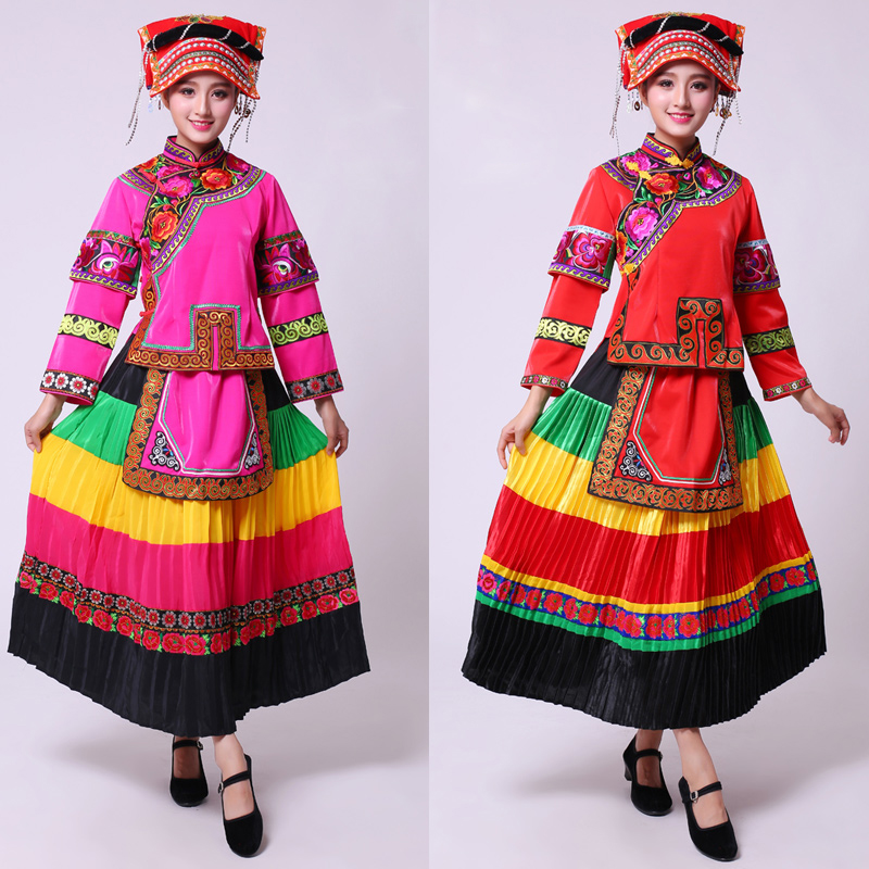 Women ethnic Miao ancient costume Traditional colorful folk Dance Chinese festival party performance garment Hmong Clothing