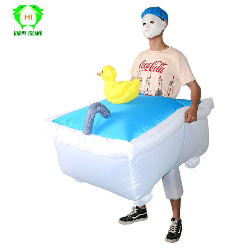Funny Inflatable Baby Bathtub Costume Polyester Adult Halloween Inflatable Costumes Men Christmas Party Festival Cosplay Costume