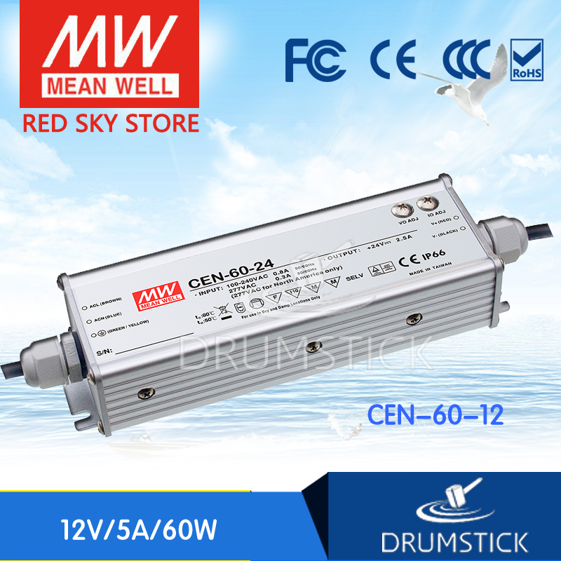 Selling Hot MEAN WELL CEN-60-12 12V 5A meanwell CEN-60 12V 60W Single Output LED Power Supply genuine mean well irm 60 12st 12v 5a meanwell irm 60 12v 60w screw terminal style
