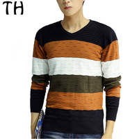 Spring Autumn Color Patchwork Tops Long Sleeve V-neck Casual Pullover Men Sweater Knitwear Pull Homme #161729